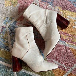 Topshop cream leather heeled booties